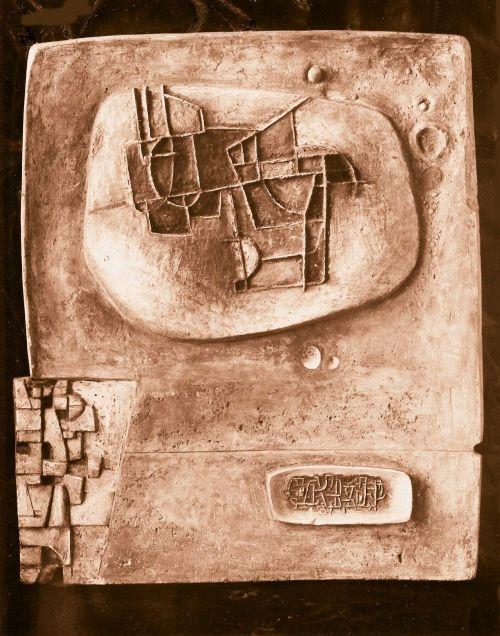 Płaskorzeźba, gips patynowany, 80 x 100 cm, 1962 ra