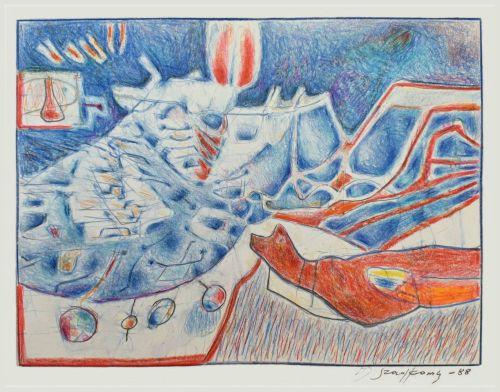 Rysunek kredką - 42 x 31,5 cm, 1988 r.a