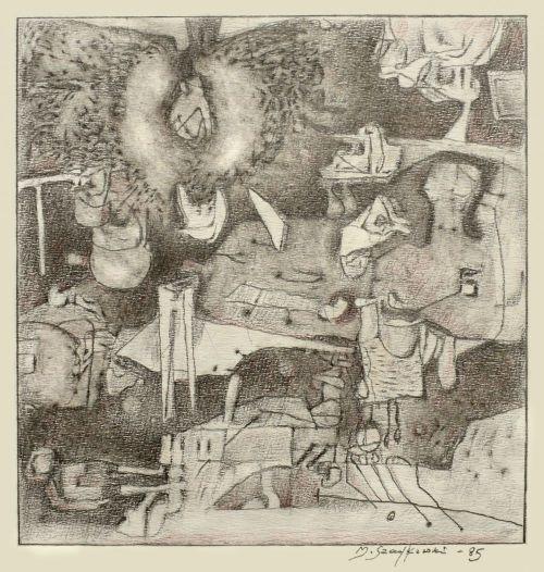 Rysunek ołówek, 27,5 x 29 cm, 1985 r