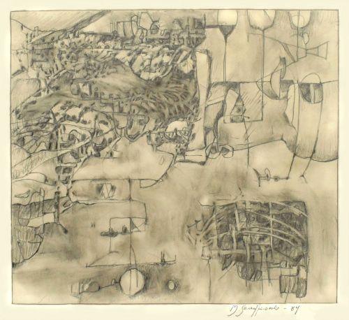 Rysunek ołówek, 29,5 X 26 cm, 1984 r.a