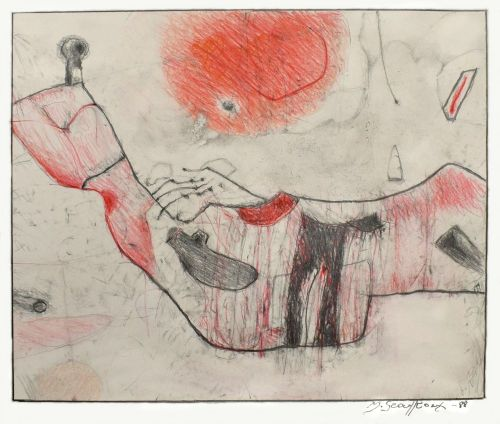 Rysunek ołówek, kredka, 41,5 x 34 cm, 1988 r.a